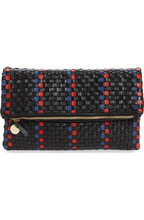 Clare V. Woven Leather Foldover Clutch   Nordstrom