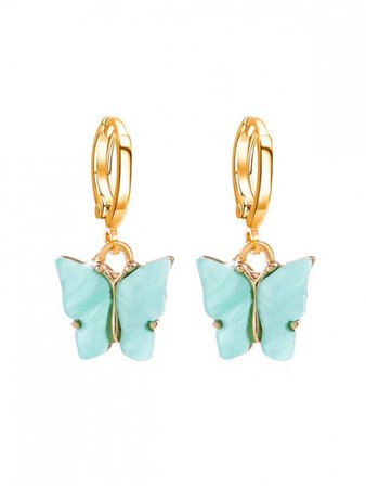 [30% OFF] [HOT] 2020 Butterfly Small Hoop Drop Earrings In AQUAMARINE   ZAFUL