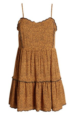 Row A Sleeveless Animal Print Ruffle Minidress | Nordstrom