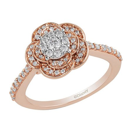 Enchanted Disney Fine Jewelry Womens 1/2 CT. T.W. Genuine Diamond 10K Rose Gold Round 'Beauty and the Beast' Promise Ring - JCPenney