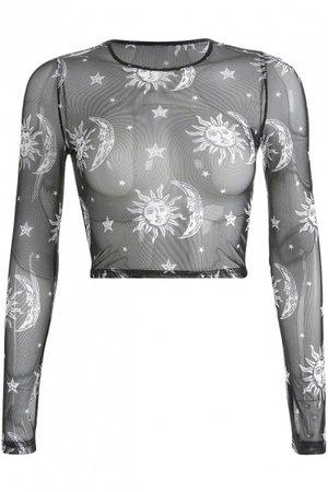 Basic Round Neck Long Sleeve Cartoon Moon Star Sun Printed Slim Fit Cropped Mesh T-Shirt - Beautifulhalo.com