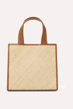 Brown Raffia and leather tote   Hunting Season   NET-A-PORTER