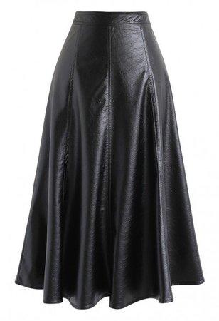 Braid Button Trim A-Line Knit Skirt in Black - Skirt - BOTTOMS - Retro, Indie and Unique Fashion