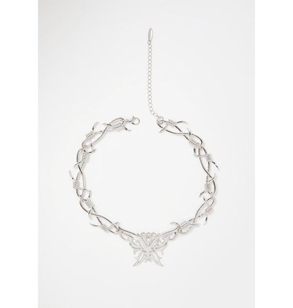 Silver Barbed Wire Butterfly Choker | Dolls Kill