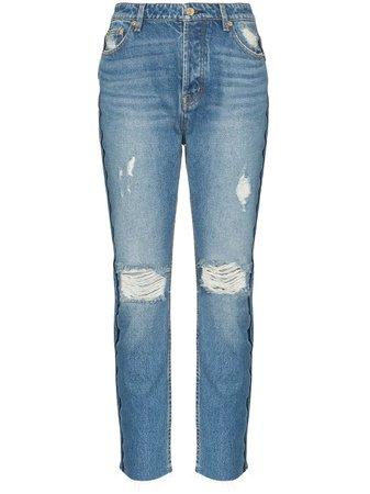 Blue P.e Nation 1993 Distressed Straight-Leg Jeans | Farfetch.com