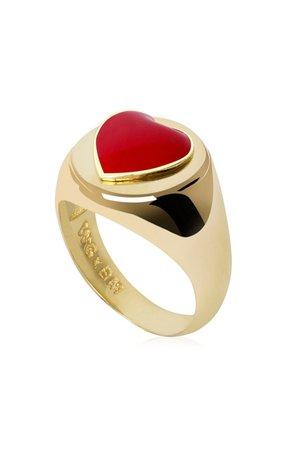 Gold-Plated Heart Signet Ring by Wilhelmina Garcia | Moda Operandi