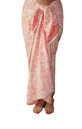 White Beach Sarong Wrap Skirt Coral