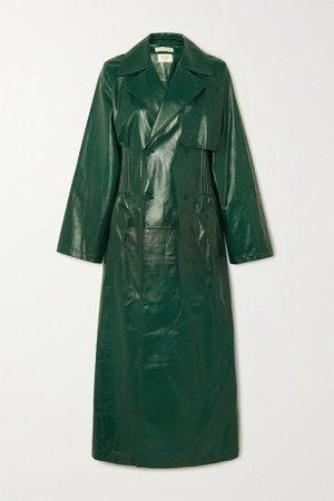 Green Double-breasted shirred glossed-leather trench coat | Bottega Veneta | NET-A-PORTER