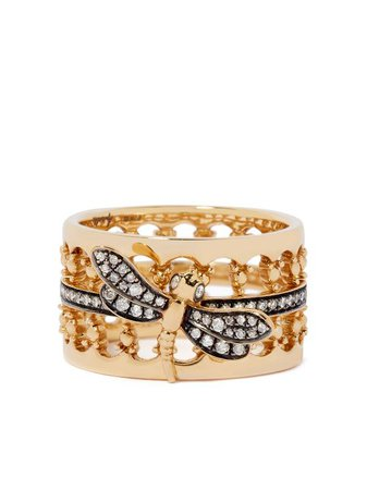 Annoushka 18kt Yellow Gold Dragonfly Diamond Crown Ring - Farfetch