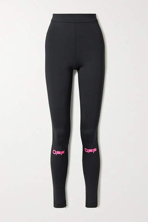 Off White Printed Stretch-jersey Leggings - Black