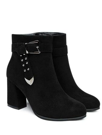 2018 Studs Buckle Strap Side Zipper Ankle Boots BLACK In Boots Online Store. Best Square Toe Ankle Boots For Sale | DressLily.com