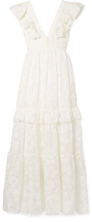 Violet Ruffled Fil Coupé Cotton And Silk-blend Gown - Off-white