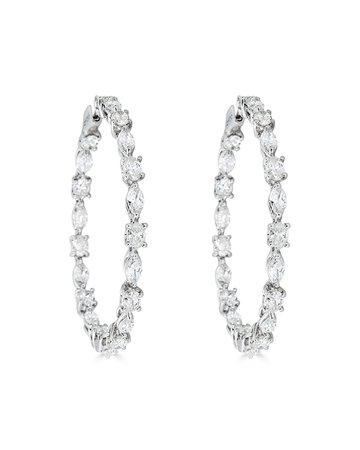 ZYDO 18k White Gold Mixed-Cut Diamond Hoop Earrings, 9.16tcw | Neiman Marcus