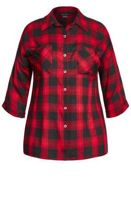 Shop Women's Plus Size Plus Size Boyfriend Check Shirt - red