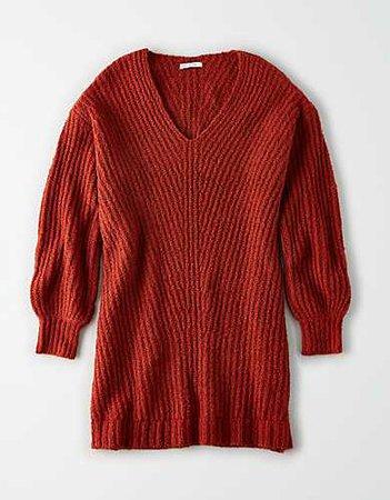 AE V-Neck Sweater Dress orange