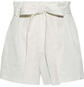 Laurine Belted Linen-blend Shorts