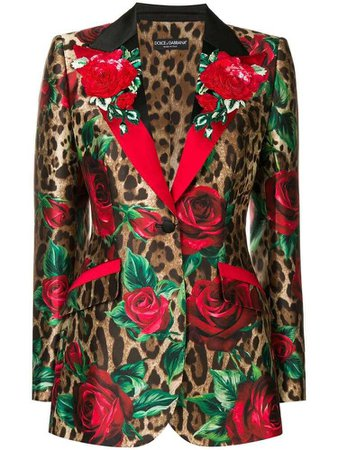 Dolce & Gabbana leopard print blazer - Brown