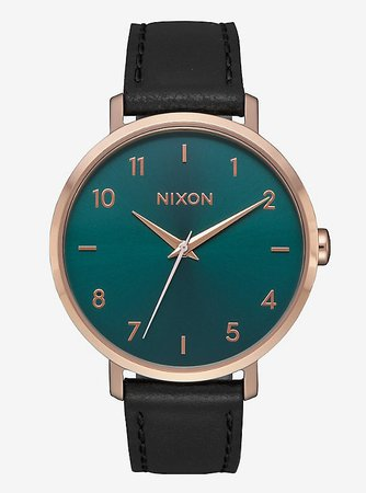 Nixon Arrow Leather Rose Gold Emerald Watch