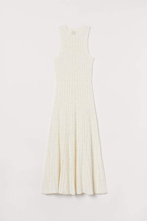 Hole-knit Dress - White