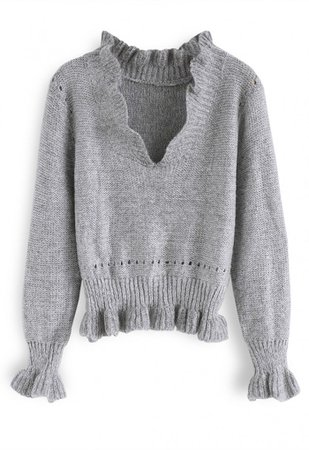 Knit a Chance V-Neck Frilling Sweater in Grey - TOPS - Retro, Indie and Unique Fashion