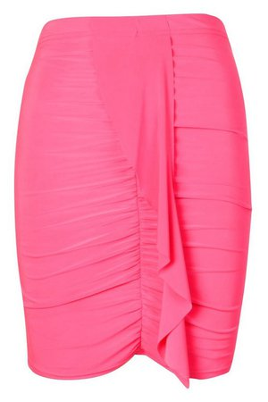 Neon Ruched Mini Skirt | boohoo pink