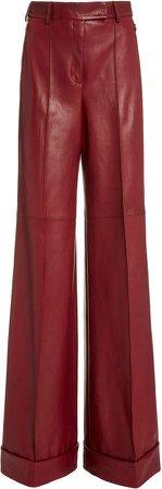 Akris Floretta Leather Wide-Leg Pants