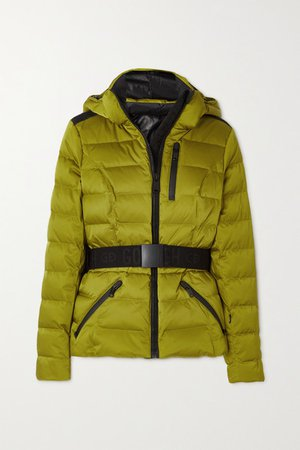 Soldis Belted Quilted Down Ski Jacket - Green