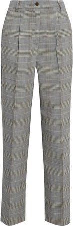 Carmen Prince Of Wales Checked Woven Straight-leg Pants