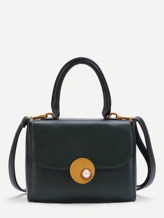 Faux Pearl Detail PU Crossbody Bag