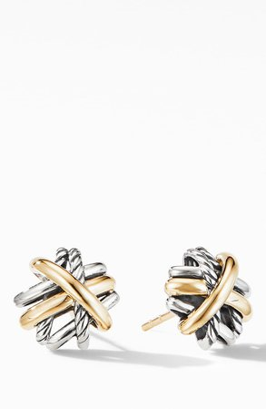 David Yurman Crossover Stud Earrings with 18K Yellow Gold | Nordstrom