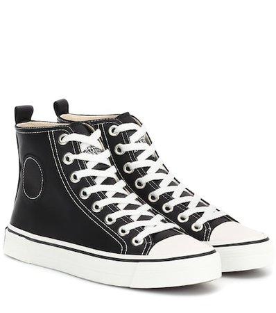 Satin high-top sneakers