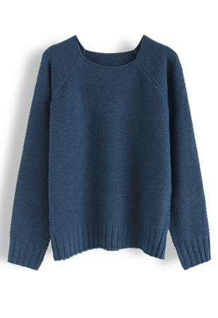 Waffle Knit Sweater in Indigo - Long Sleeve - TOPS - Retro, Indie and Unique Fashion