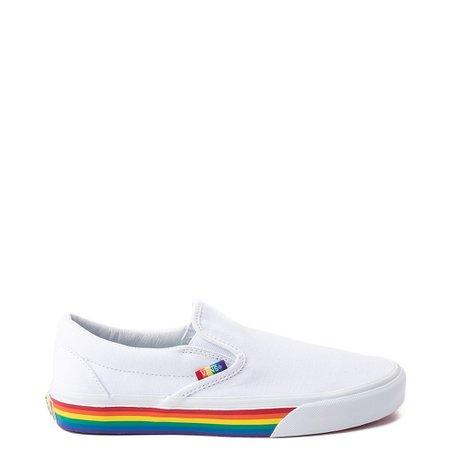 Vans Slip On Rainbow Skate Shoe - White / Multi   Journeys
