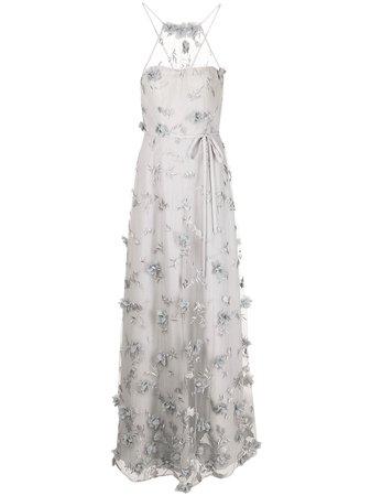 Marchesa Notte Bridesmaids floral-embroidered halterneck gown