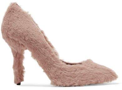 Faux Fur Pumps - Baby pink