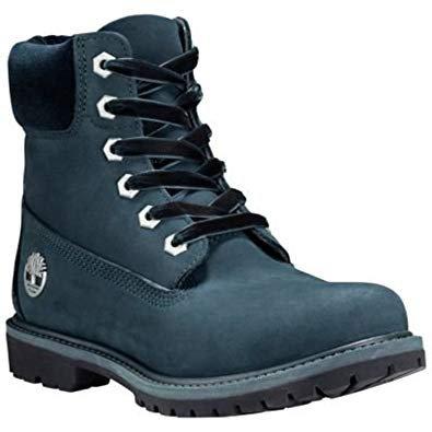 "Amazon.com | Timberland Women's 6"" Premium Leather and Fabric Waterproof Boot Dark Green Nubuck/Velvet Collar 8 B US | Ankle & Bootie"