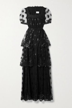 Ashby Tiered Lace-trimmed Embroidered Tulle Gown - Black