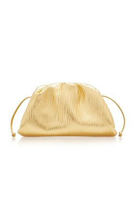 The Pouch Small Gathered Metallic Leather Clutch by Bottega Veneta | Moda Operandi