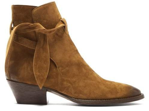 Tie Side Suede Ankle Boots - Womens - Tan