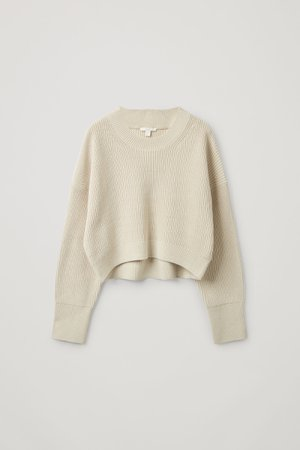 CROPPED KNITTED JUMPER - light beige - Jumpers - COS GB