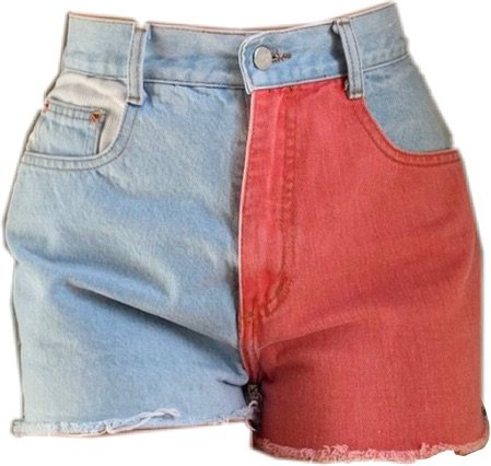 blue and red shorts