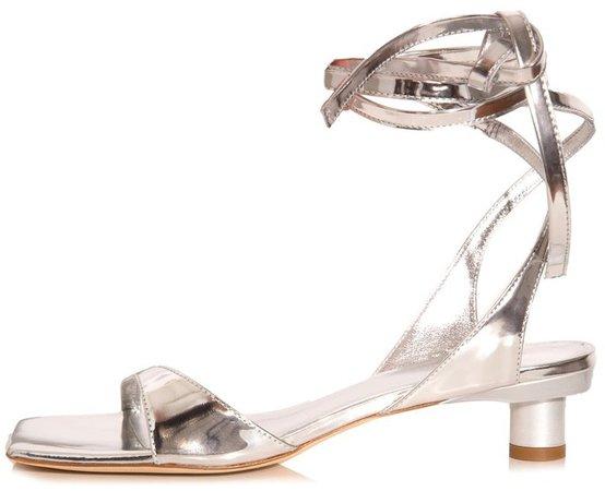 Jiro Metallic Patent Sandal in Silver