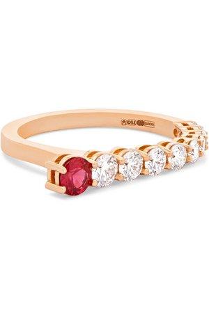 Melissa Kaye | Aria 18-karat rose gold, diamond and ruby ring | NET-A-PORTER.COM