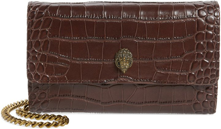 Kensington Croc Embossed Leather Wallet on a Chain