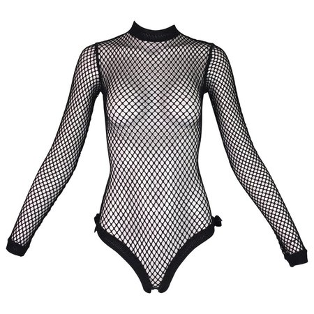 1993 Jean Paul Gaultier Pin-Up Black Fishnet Mesh Bow Bodysuit Top For Sale at 1stdibs