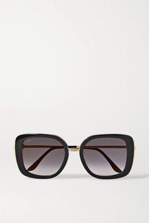 Black Square-frame acetate and gold-tone sunglasses | Cartier Eyewear | NET-A-PORTER