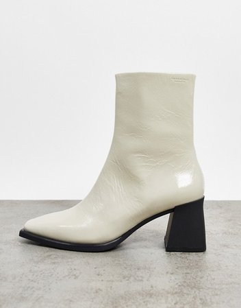 Vagabond Hedda leather flared heel ankle boots in white patent | ASOS