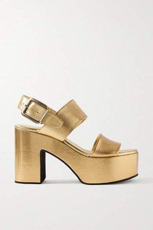 Metallic Leather Platform Sandals - Gold