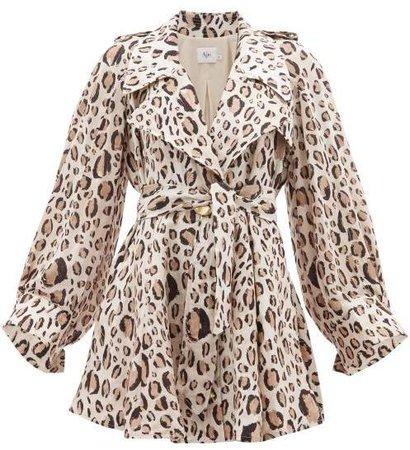 Aje Leopard Print Tie Waist Linen Blend Dress - Womens - Animal