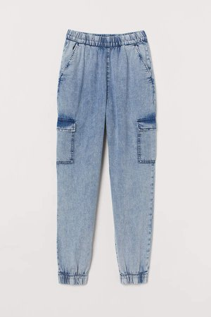 Denim Cargo Pants - Blue